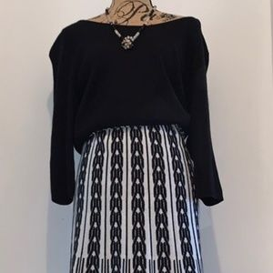 Sandra Darren Knit Dress 1X Black White
